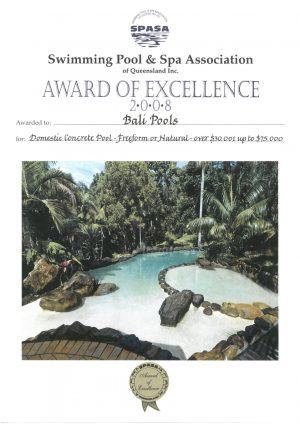 balipools spasa award of excellence swimming pool and spa 2008