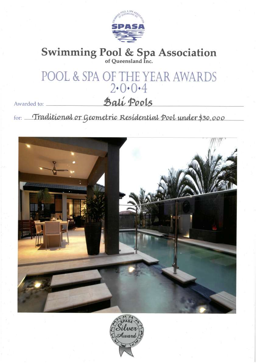 balipools spasa award of excellence swimming pool and spa 2004