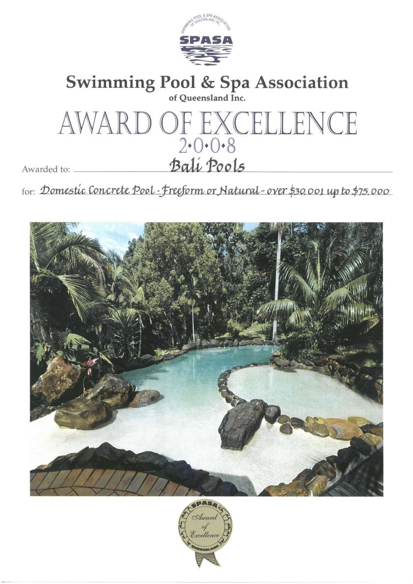 balipools spasa award of excellence swimming pool and spa 2008