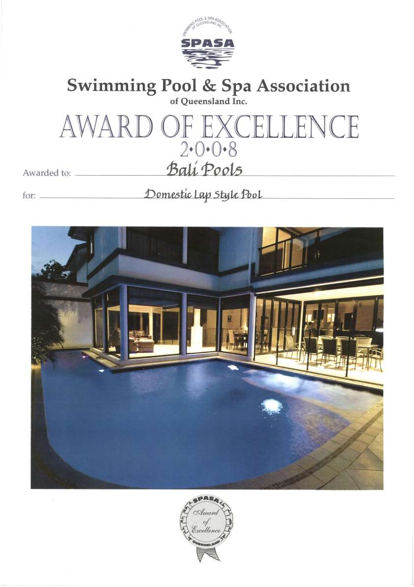 balipools spasa award of excellence swimming pool and spa