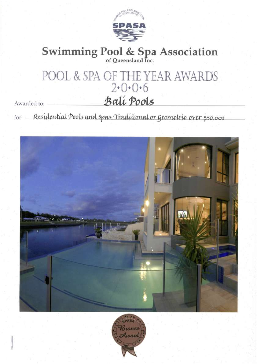 balipools spasa award of excellence swimming pool and spa 2006