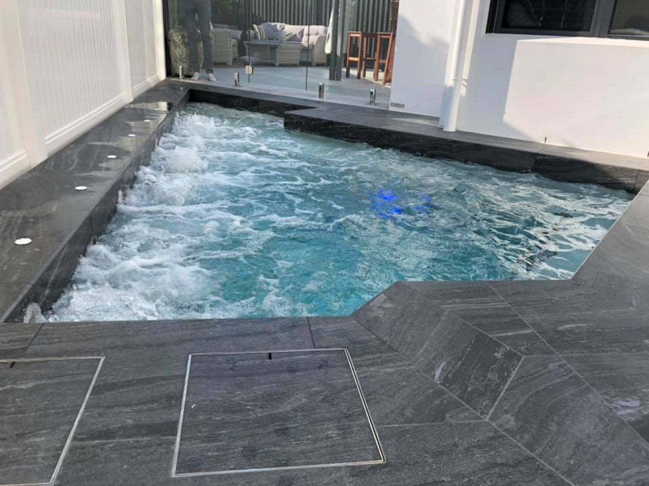 Heated plunge pool and spa in Burleigh, Gold Coast with porcelain tiles