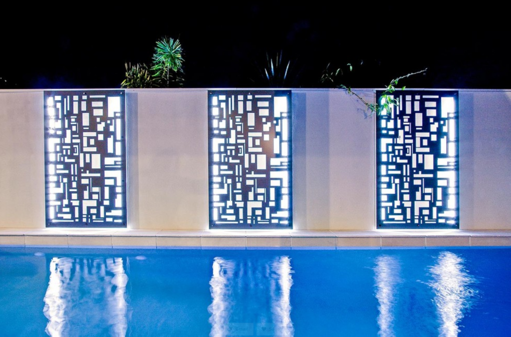 Custom panel stencilled water features with white lighting