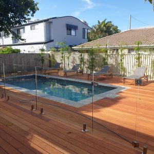 Modern concrete swimming pool surrounded by sun lounges, and a developing bamboo garden