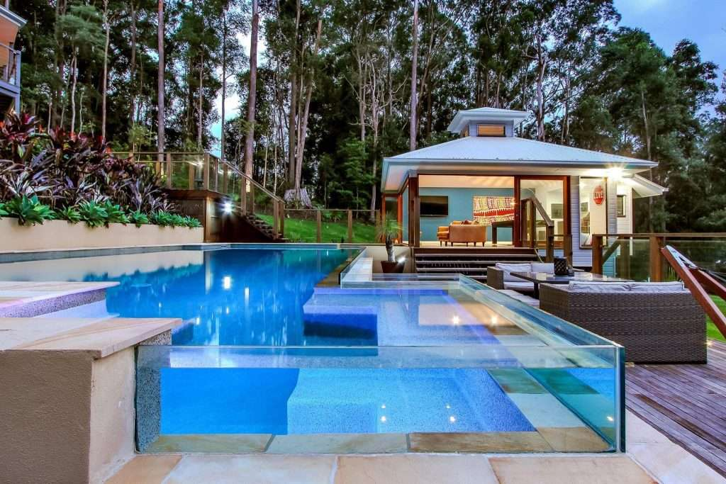 Lismore Swimming Pool Design to compliment surrounding bush and garden landscaping.
