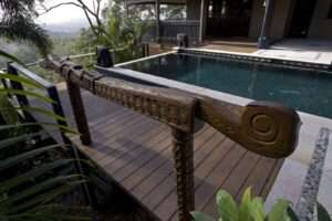 Brisbane pool design with timber surrounds